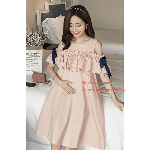 Maternity Summer Fold Pink Dresses Short Shoulder Loose XFentech Fashion Open Sleeves Summer Womens Breastfeeding xZwpzq01P