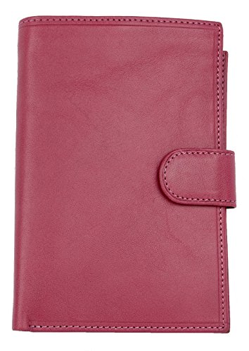 Women's Italian Large Pink Genuine Leather Wallet with Removable Passport Holder