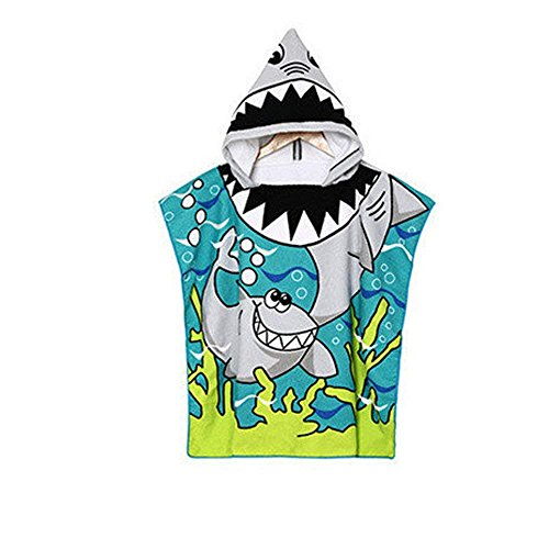 AYUQI Kids Hooded Towel for Bath, Swimming, Beach Holiday Soft, Cotton Lightweight Boys Towel Blue (Shark Pattern)