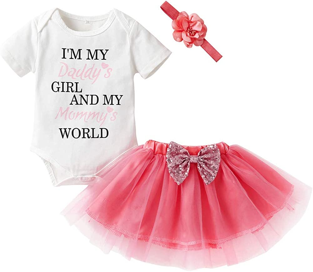 ODASDO Baby Girl I'm My Daddy's Girl and My Mommy's World Tutu Set Short Sleeve Romper Skirt Headband 3pcs Clothes Set