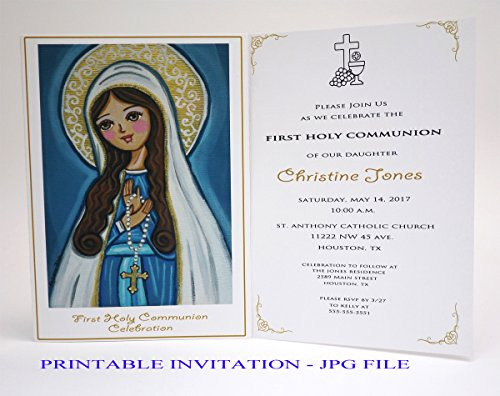 Religious Invitations Printable (Girl first communion invitation girl Our Lady Virgin Mary Boy first holy communion invitation boy Religious invitation First communion invites Spanish invitation First communion invitation printable)