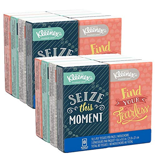 Facial Tissues, On-The-Go Small Packs, Travel Size, 10 Tissues per Go Pack, 16 Packs