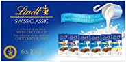 Lindt Swiss Classic Fan Pack Chocolate Bar Collection (Milk, White, Hazelnut, Almond, Crunchy), 6 Count (100g