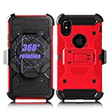 IPHONE X CASE, IPHONE 10 CASE,Heavy Duty Drop Protection Shell Combo Shockproof Swivel Belt Clip Kickstand Durable Rugged Soft Silicone Hard PC Armor Protective Cover For APPLE IPHONE X - Red