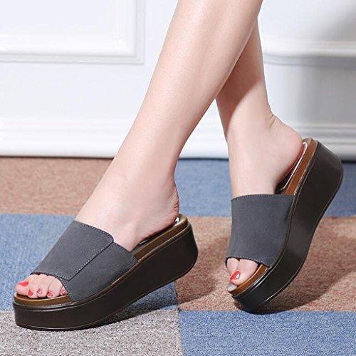 Extérieure Sandales en Bout Fond Imperméable Pantoufles Talons Polyuréthane Usure Ouvert Chaussures Plate Mode Gommage Épais Gris Forme Talons Femme Été 7rxqtrT