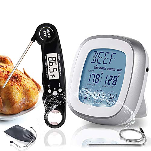 Digital Instant Read Meat Thermometer for Grilling - Highly Sensitive Waterproof Food Cooking Grill Timer Alarm with Long Food Probe & Backlight Display - Kitchen Oven BBQ Milk Turkey
