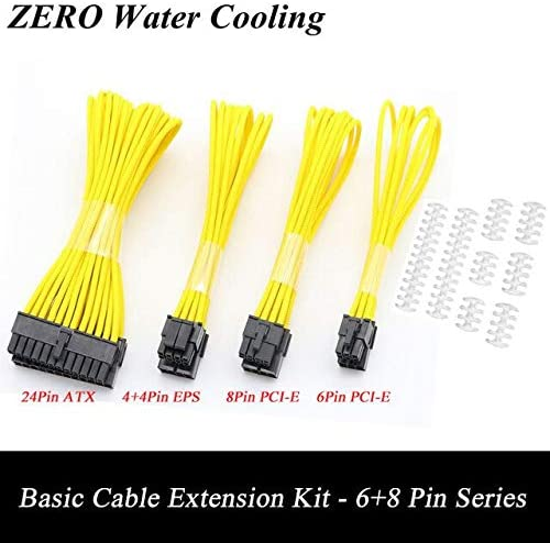 Cable Length: Clear Cable Comb, Color: Yellow Occus 30colors Basic Extension Cable Kit; 1pcs ATX 24Pin//EPS 4+4Pin//PCI-E 8Pin//PCI-E 6Pin Power Extension Cable