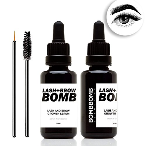 Lash + Brow Growth Serum - Eyelash Growth Enhancer & Brow Serum with Biotin for Long, Luscious Lashes and Eyebrows by BombBomb (Growing Hair Gel)