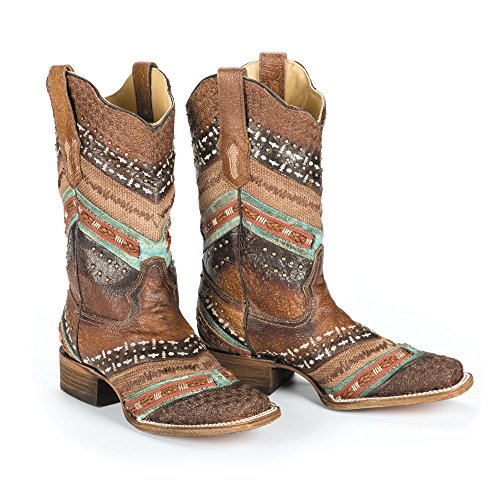 Corral Boots Women's A3424 Turquoise/Brown 8.5 B US