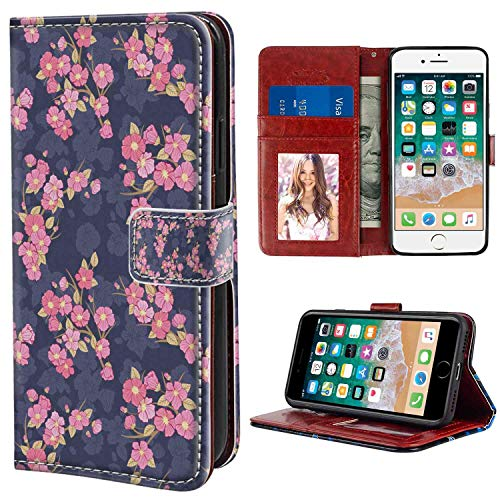 Cherry Blossom Asian Chinese Culture Traditional Floral Garden Retro Style Dark Blue Coral Pale Green Apple iPhone 8, 7 (4.7 Version) Wristlet Wallet Case Protective Case ()