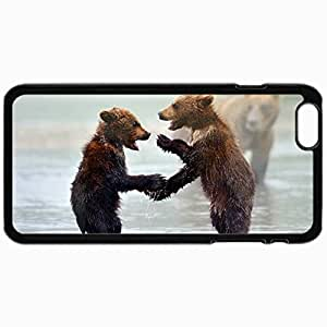 Customized Cellphone Case Back Cover For iPhone 6, Protective Hardshell Case Personalized Bears Cubs Water Mist Black