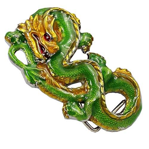 Baosity Vintage Western Belt Buckle Coiled Dragon Metal Painted Men Novelty Accessories (Dragon Coiled)