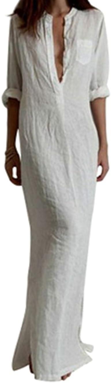 Junkai Verano Mujer Color Puro Bohemios Maxi Vestidos Largos ...