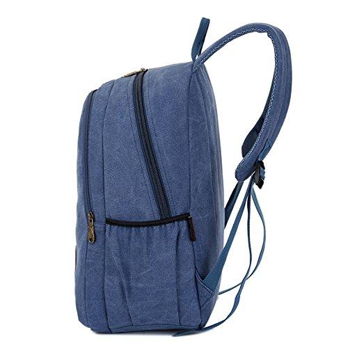 Bolso De Hombro Doble Vintage De Moda Bolsa De Lona De Gran Capacidad De Mochila Mochila Estudiante Corto De 15 Pulgadas Bolsa Bolsa De Ordenador,Brown Blue
