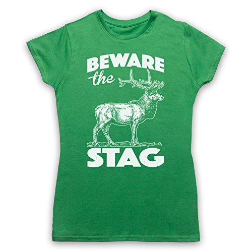 Beware The Stag Stag Do Slogan Camiseta para Mujer Verde