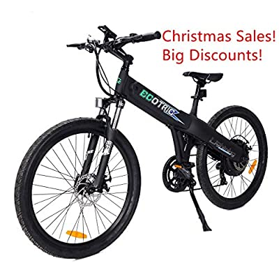 """ECOTRIC Aluminum Alloy Electric Bike Matt Black Electric Mountain Bicycle Powerful 500W Lithium 36V 10AH Battery Suspension Fork 26"""" City Tire Ebike"""