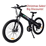 ECOTRIC Aluminum Alloy Electric Bike Matt Black Electric Mountain Bicycle Powerful 500W Lithium 36V 10AH Battery Suspension Fork 26' City Tire Ebike