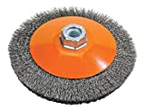 Walter Surface Technologies 13H654 Saucer-Cup Crimped Wire Brush - Durable Carbon Steel Brush. Finishing Brushes