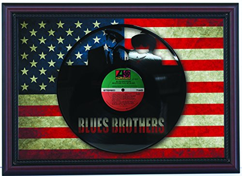 Blues Brothers Briefcase of Blues Laser Cut Black Vinyl LP Record Custom Framed Flag Display, Limited Edition (Framed Briefcase)