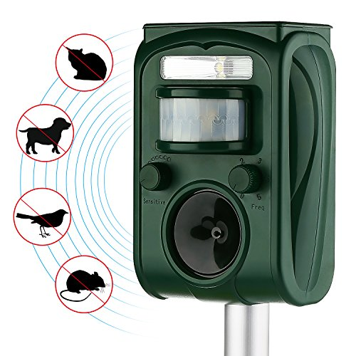 AUTSCA Ultrasonic Animal Repeller Solar Power Animal & Pest Repellent, Cat Repellent, Dog Repellent, Deer Repellent, Mice Repellent, Bird - Solar Repeller Bird
