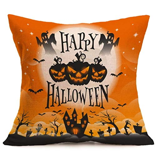 GREFER Halloween Decorations Pillow Cases Linen Sofa Cushion Cover Home Decor Happy Halloween (B)