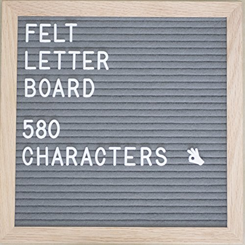 Walking Duck Letter Board - Gray 10x10 inch Felt Board with Oak Wood Frame and 580 Peg on White Letters, Numbers, Symbols, Emojis - Changeable Characters for Creative DIY Messages - Incl. Accessories by Walking Duck