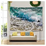 RAISEVERN Summer Seaside Spindrift Beach Tapestry Cool Holiday Hawaii Scene Wall Hanging Art for Living Room Bedroom Dorm Home Decor (Seawater,59.1''X78.7'')
