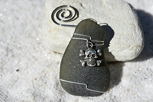 Genuine Surf Tumbled Dark Olive Green Sea Glass Ornament with a Skull and Crossbones Charm