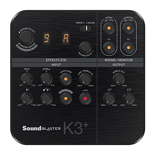 Creative Sound Blaster K3+ USB Powered 2 Channel Digital Mixer AMP/DAC/, Digital Effects XLR Inputs with Phantom Power / TRS / Z Line ()