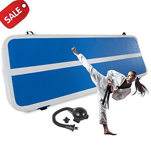 Happybuy Inflatable Gymnastics Tumbling Mat Air Tumbling Track w/Electric Pump Air Floor Mat for Home Use/Cheerleading/Beach/Park and Water (2X10M/6.5X32.8FT)