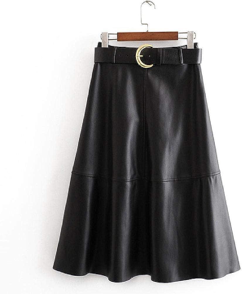 NObrand Otoño Invierno Faldas de Cuero de PU Mujeres Moda Corbata Suelta Cinturón Falda de Cintura Mujeres Elegantes Faldas de Media Pantorrilla Mujer