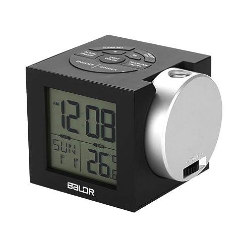 Despertador Digital Despertador Proyector, Reloj Despertador Niños LCD Digital Alarma Despertador Cambio de Color,