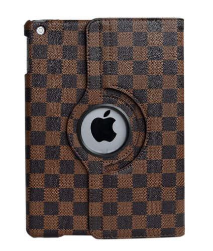 inShang Checker Damier smart case/cover/stand for iPad Case 9.7 inch 2017/2018 ipad air iPad air 2 With auto sleep/wake function (Black/Brown)