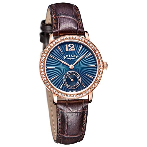 (Rotary Ladies Analogue Watch LS03053/05 with Blue Sunray Dial, Rose Gold Crystal Set Casing. Brown Leather Strap ...)