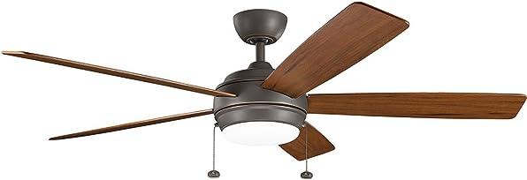Kichler 330180OZ, Starkk LED Olde Bronze 60 Ceiling Fan with Light