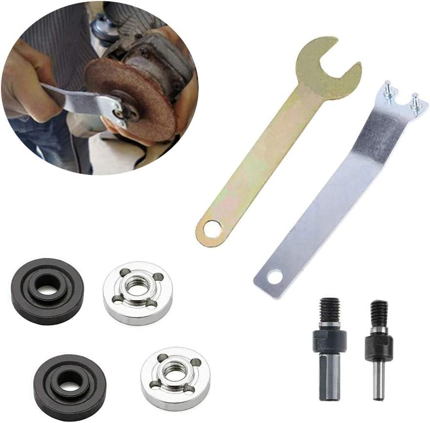 8 Pieces Hand Drill Conversion Connecting Rod Angle Grinder Spanner Wrench Key ,Steel Lock Flange Nut Inner Outer Kit Tool Accessories for Hubs Replacing Discs(2 Specifications M6//M10 )
