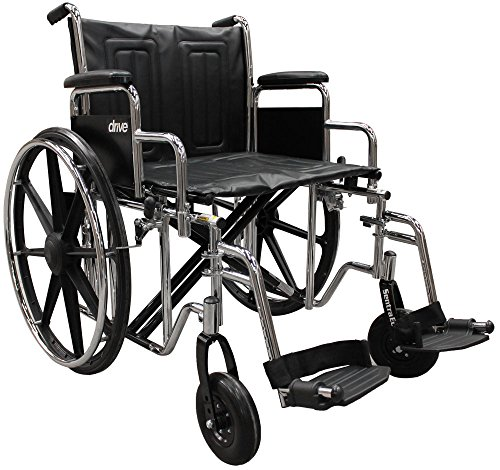 Drive Medical Sentra EC Heavy Duty Wheelchair with Various Arm Styles and Front Rigging Options, Black, Bariatric 24