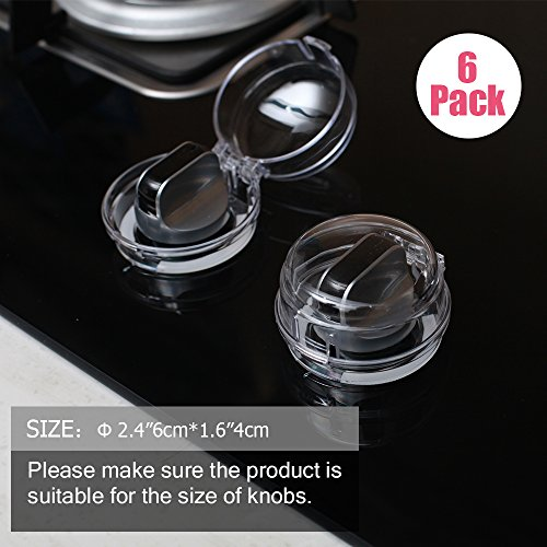 Eudemon (6 Pack, Clear 1.47'' Height × 1.54'' Diameter) Mini Covers, Suit For Small Gas Knob,Safety Children Kitchen Stove Knob Covers & 12 Pack US Type Socket Plug Cover by EUDEMON (Image #6)