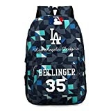 Los Angeles Dodgers #35 Cody Bellinger Star Baseball Backpack for Men and Women General Large Capacity Leisure Schoolbag for Youth