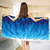 smallbeefly Trippy Bath Towel Abstract Gas Flame Background Exploding Motion Energy Fire Modern Illustration Bathroom Towels Violet Blue Size: W 31.5'' x L 67''