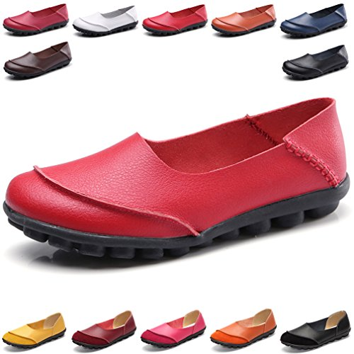 Hishoes Women's Leather Loafers & Slip-Ons Flats Driving Walking Casual Moccasins Soft Sole Shoes (Leather For Soft Shoes Ladies)
