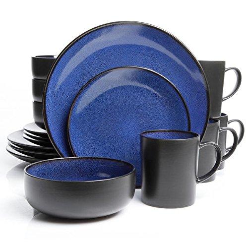 Gibson Modern Solid Stoneware Novabella 16-piece Cobalt Dinnerware Set, Black/Blue