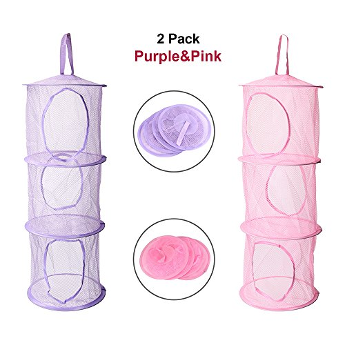 - Adaman Mesh Hanging Storage with 3 Compartments, Toy Hanging Storage Organizer for Kids& Baby Room (Pink&Purple) (Pink&Purple)