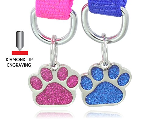 (Glitter Paw Pet ID Tags Custom Engraved Dog & Cat Paw Print Tag Personalized)