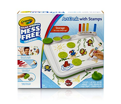Crayola Color Wonder Mess-Free Art Desk with Stamps, 5 Markers, 5 Stamps, Paper, Portable Case, Coloring Tablet