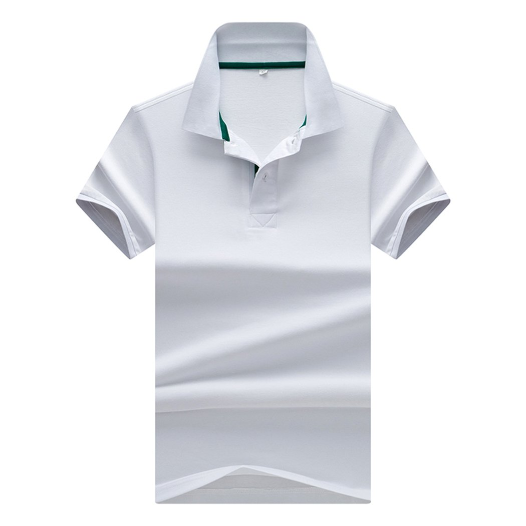 Sun Lorence Big Boy's School Uniform Dry Fit Short Sleeve Collared Solid Polo T-Shirt White M by Sun Lorence (Image #1)