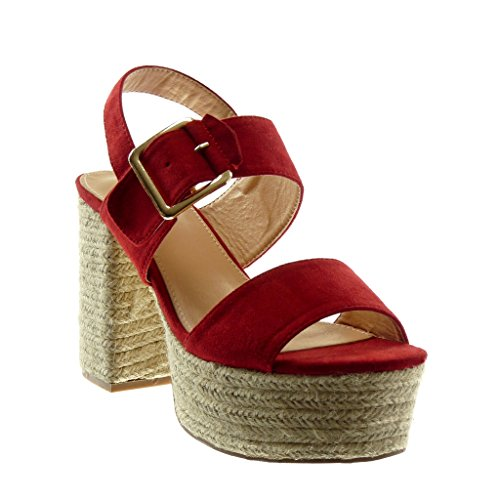 Angkorly Women's Fashion Shoes Sandals Mules - Ankle Strap - Platform - Cord - Thong - Buckle Block High Heel 11 cm Red