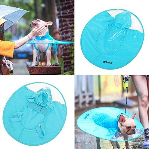 Botrong Dog Raincoat Waterproof Cloak Umbrella All-Inclusive Pet Poncho (XL, Blue)