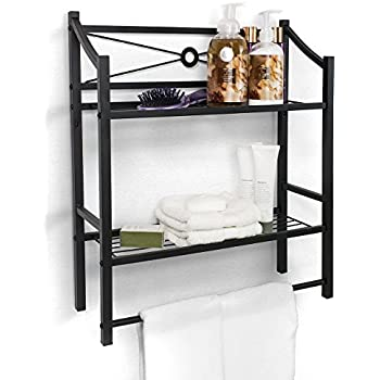 glamorous decorative bathroom wall shelves | Amazon.com: Beautiful Black Metal Decorative Wall Mounted ...