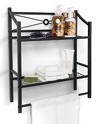 Sorbus Bathroom Shelf with Bath Towel Bar, 2-Tier Freestanding or Wall Mount Toilet Storage Shelves, Organize Bath Essentials, Planters, Books